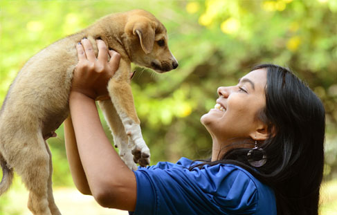 Smiling woman holding a puppy in the air
